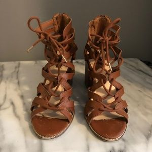 Brown Strappy Sandal Heels